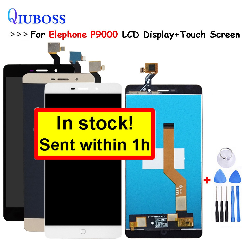 Para Elephone P9000 LCD Display + MONTAJE DE PANTALLA TÁCTIL gris/blanco para p9000 lite lcd digitalizador Sensor Panel de cristal + herramientas gratis