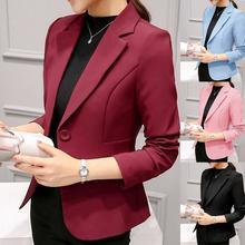 Women One Button Solid Color Lapel Long Sleeve Slim Blazer Coat Suit Jacket Slim Business Jacket Lad