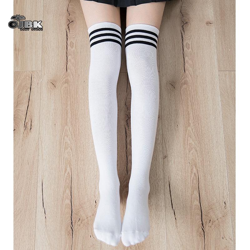 OJBK Lolita Cotton School Girl Over Knee Stocking Long Adorable Anime Tight High Black White Kawaii Student Cosplay Sailor Moon
