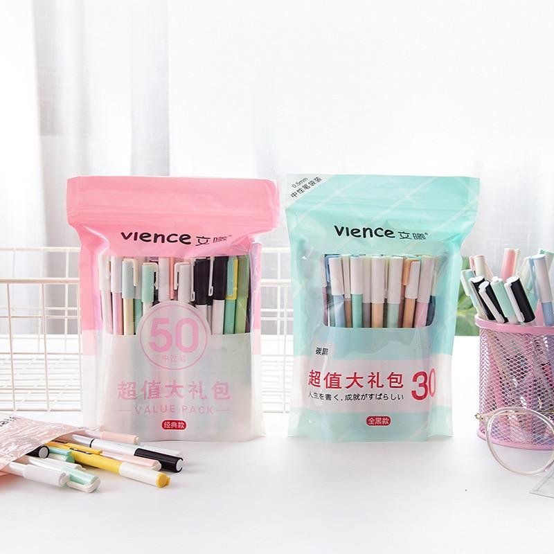 Pluma neutra estudiantes utilizar firma pluma Coreana de papelería Linda historieta 30/50 piezas de 0,5 bolígrafo de Gel de carbono Kawaii útiles escolares