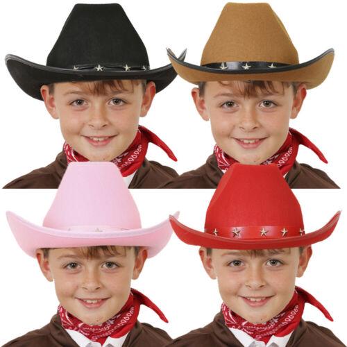 CHILDS STUDDED COWBOY HAT WILD WEST KIDS BLACK BROWN PINK RED WESTERN COWGIRL FANCY DRESS STETSON