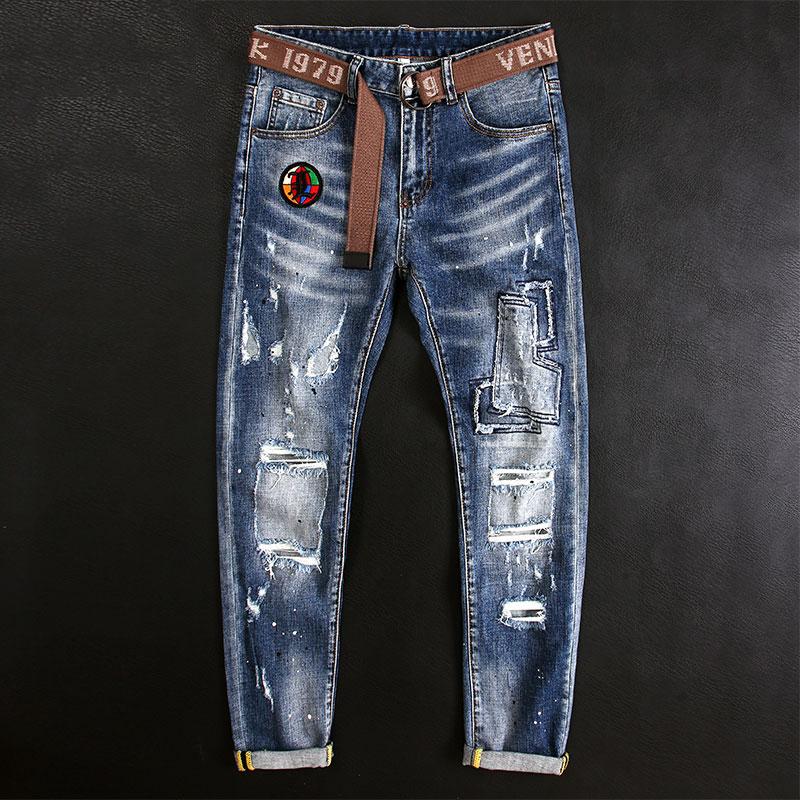 Европейские и американские уличные модные мужские джинсы, синие эластичные узкие рваные джинсы в стиле ретро, мужские дизайнерские джинсы ...