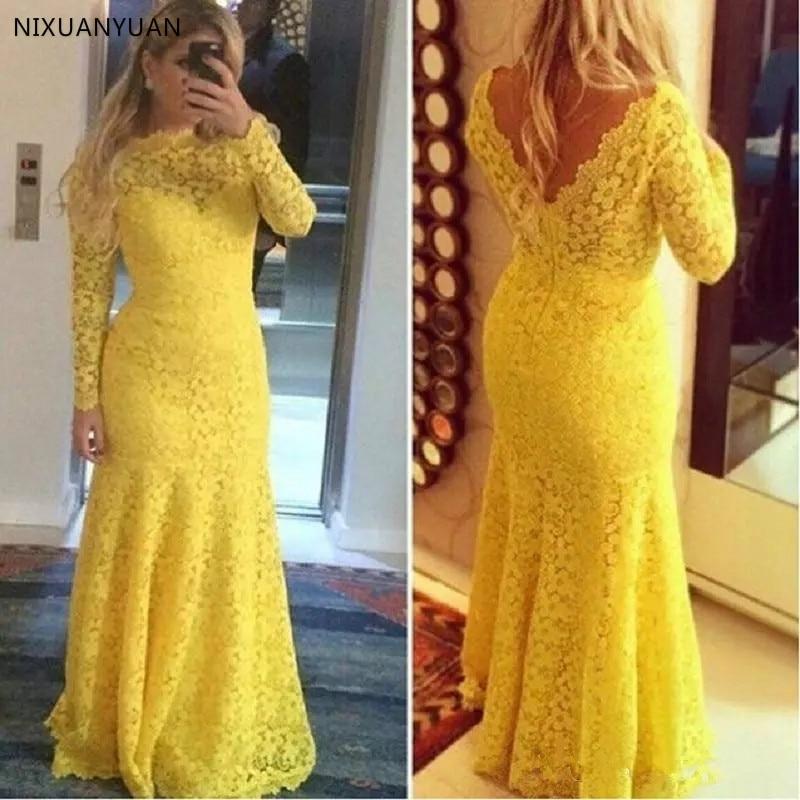 Vestidos De Encaje amarillo para Madre del novio, manga larga, Trompeta transparente,...