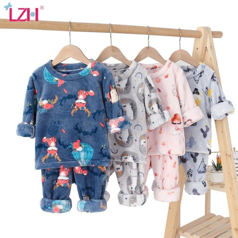 LZH/2021 осень зима; Детские фланелевые голубой рисунок с героями из мультфильмов для детей, пижамный комплект на Рождество для маленьких мальчиков, одежда для сна, пижама, домашняя одежда, одежда для девочек От 3 до 12 лет|Комплекты пижам| | АлиЭкспресс