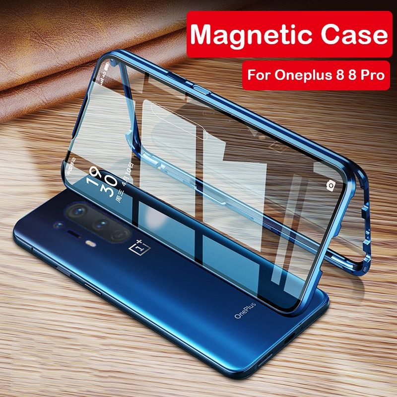 360 Full Magnetic Case For Oneplus 8T 8 Pro Coque 5G Aluminum Metal Bumper Double Glass Cover For Oneplus 7T 7 Pro 6 Phone Case