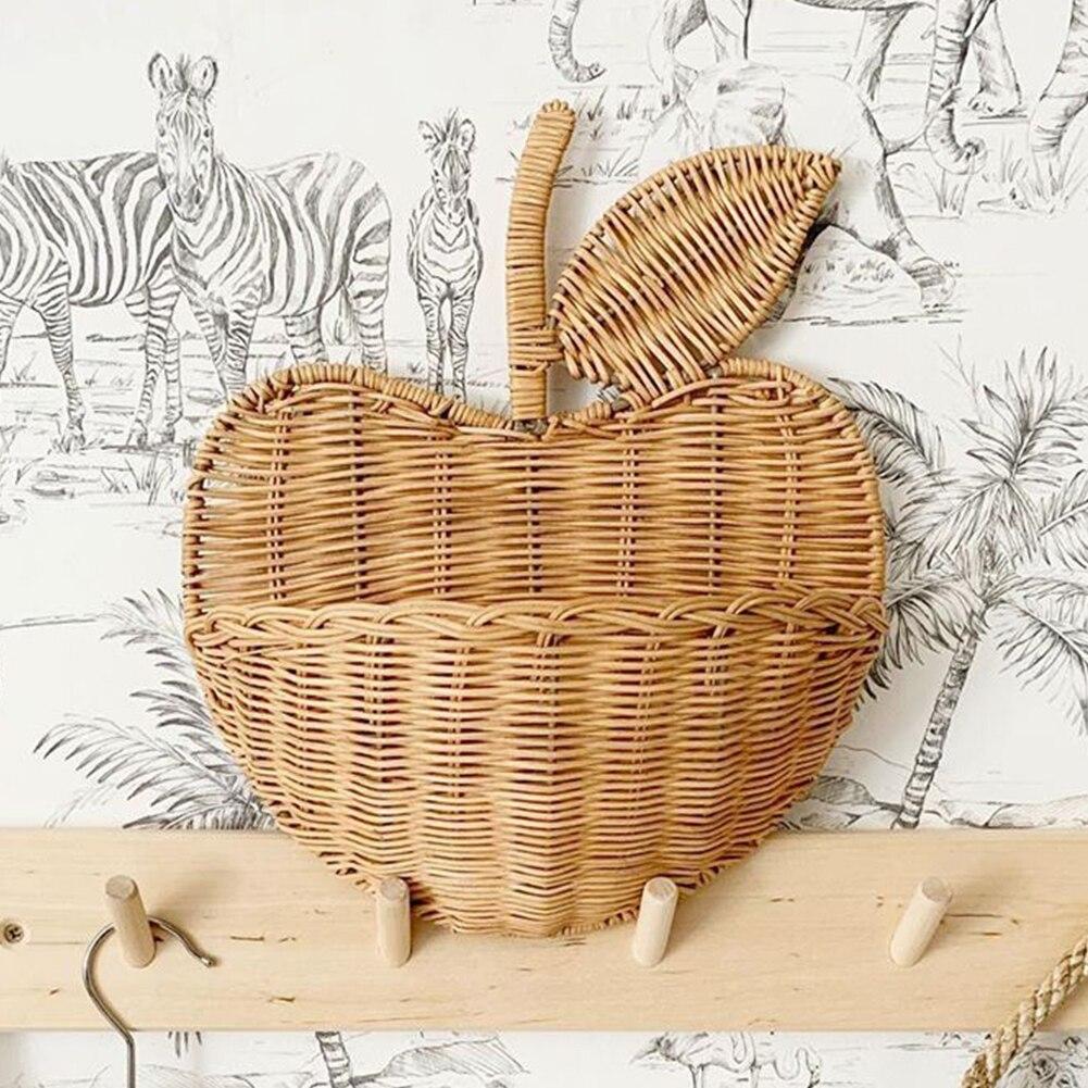Чехол из ротанга в форме цветка яблока для хранения, домашний декор, органайзер для хранения детей, ручная работа