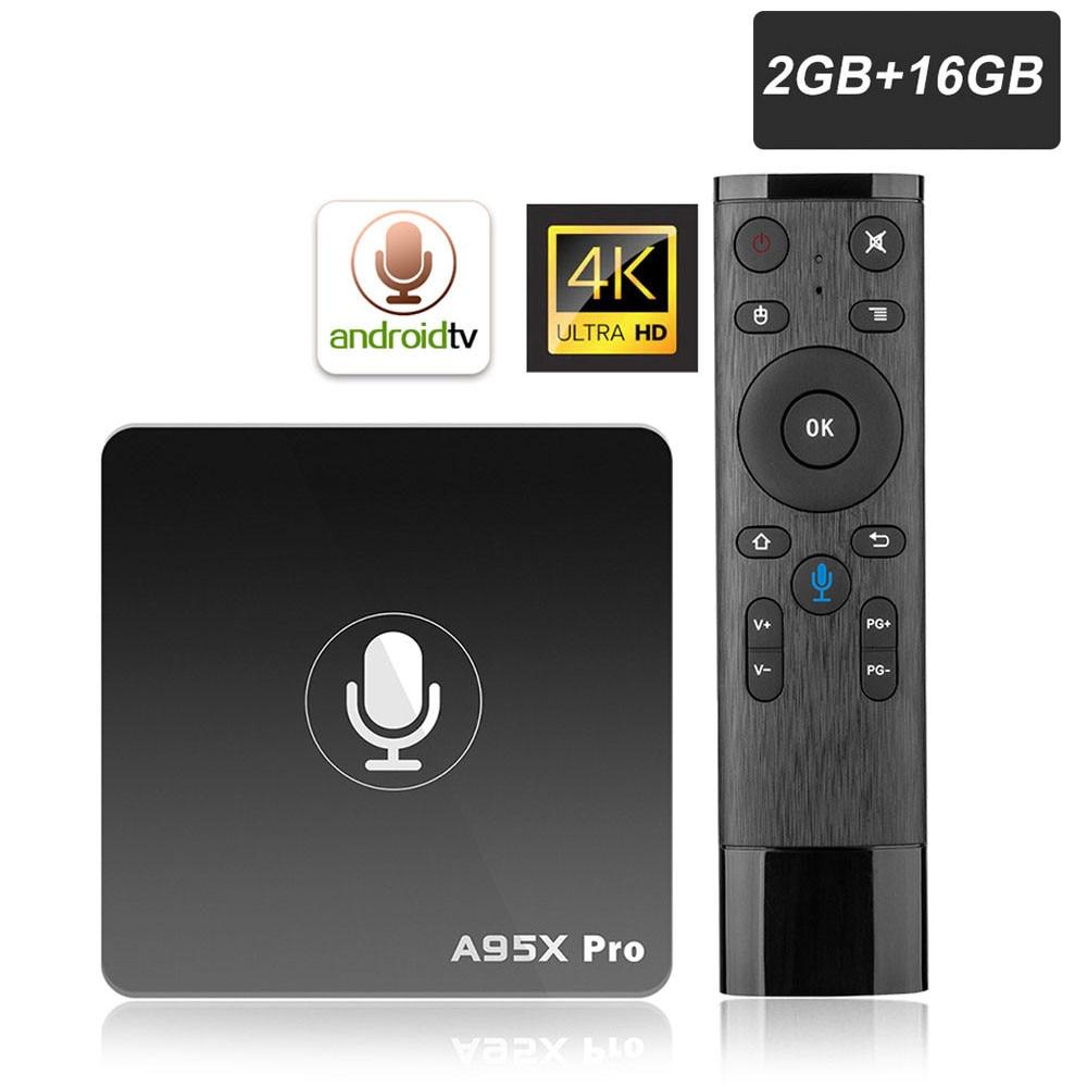ТВ-приставка A95X PRO Amlogic S905W 2 Гб ОЗУ 16 Гб ПЗУ медиаплеер 2,4G WiFi Поддержка Youtube 4K HD 3D TV Android 7,1 Google TV Box
