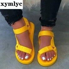 Big Size 42-43 Flat Sandal Women Summer Hook Loop Chunky sandals Outdoor beach shoes women Soft foam sole non-slip sport