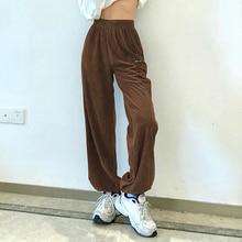 New brown corduroy pants spring autumn tight elastic high waist pants retro casual sports pants embr