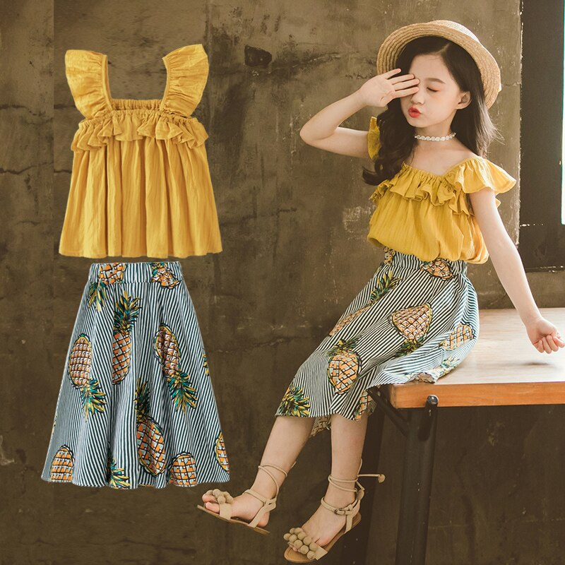 Conjunto de roupas para meninas, conjuntos de roupas para meninas verão meninas abacaxi camiseta + calças casuais 2 peças roupas para meninas adolescentes 10 8 12y