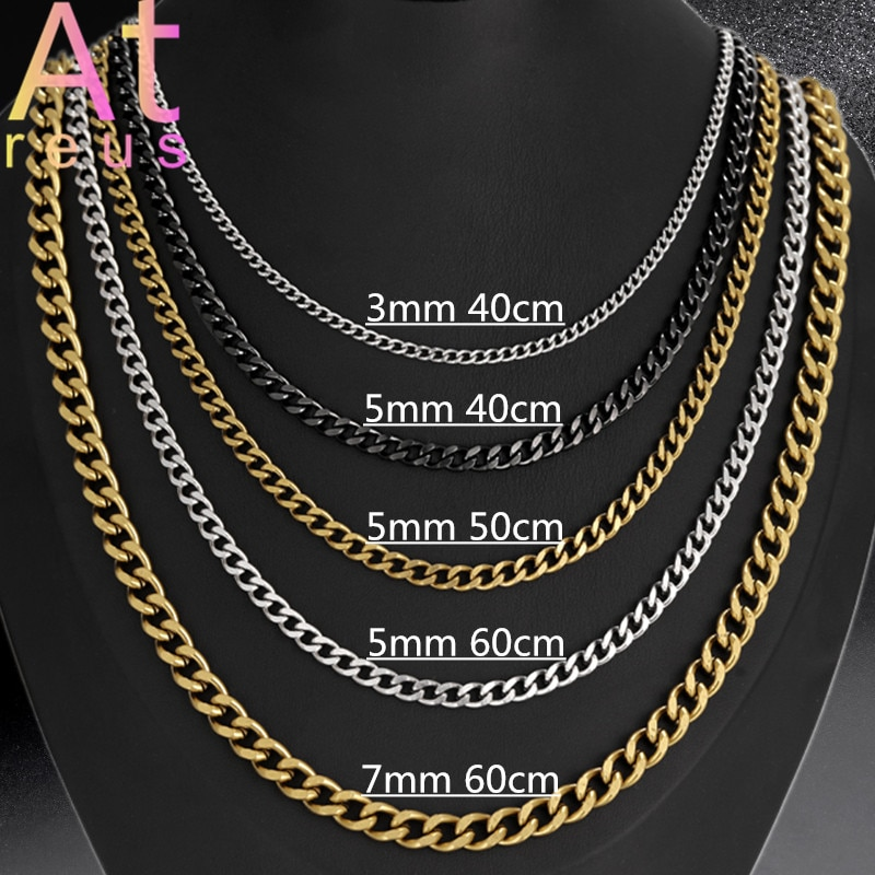 3,5,7mm Width Cuban Link Chain Men's Fashion Stainless Steel Necklace Women Choker Clavicle Chain Long Sweater Black Gold Punk