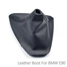 Wysokiej jakości skórzana czarna gałka dźwigni zmiany biegów typu ręcznego do BMW E90 E91 E92 odporne na kurz pokrowce