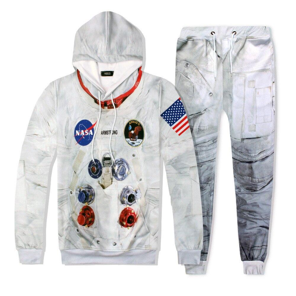 DIY nueva Sudadera con capucha 3D de la suite espacial de los Estados Unidos para hombres y mujeres, sudadera con capucha, pantalones, sudadera de astronauta cosestay, sudaderas con capucha