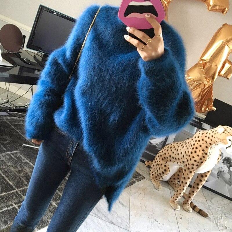 Suéter Cachemira mujer rosa rojo moda invierno Mohair lana felpa señoras azul terciopelo grueso pulóver
