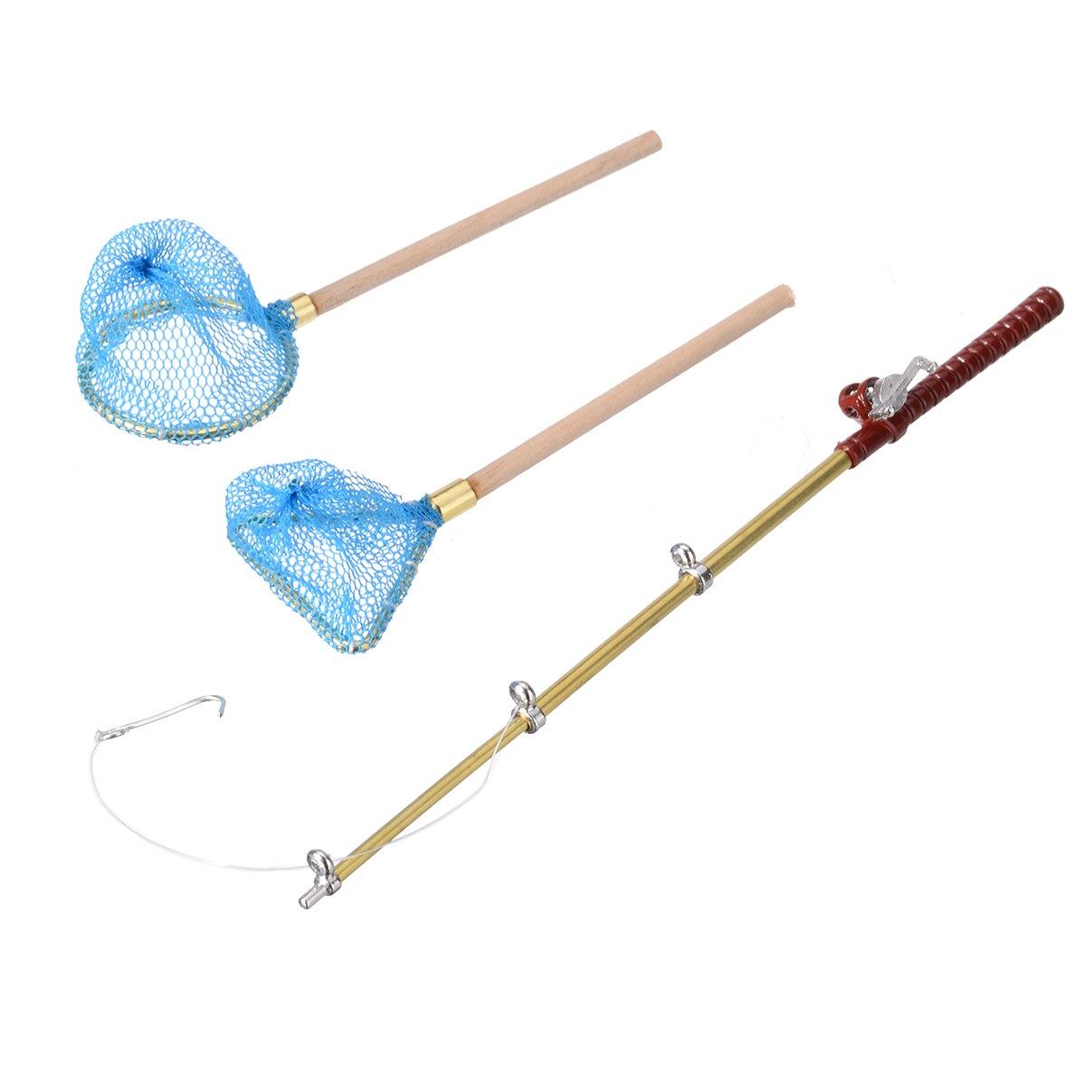 3 unids/set de caña de pescar en miniatura, red redonda triangular, Kit de red para decoración de casa de muñecas en miniatura 112, decoración de jardín