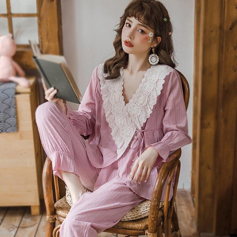 Cotton Maternity Suit Nightie For Feeding Pijama Maternal Long Sleeve Pajamas For Women Nursing Pajama Spring Autumn