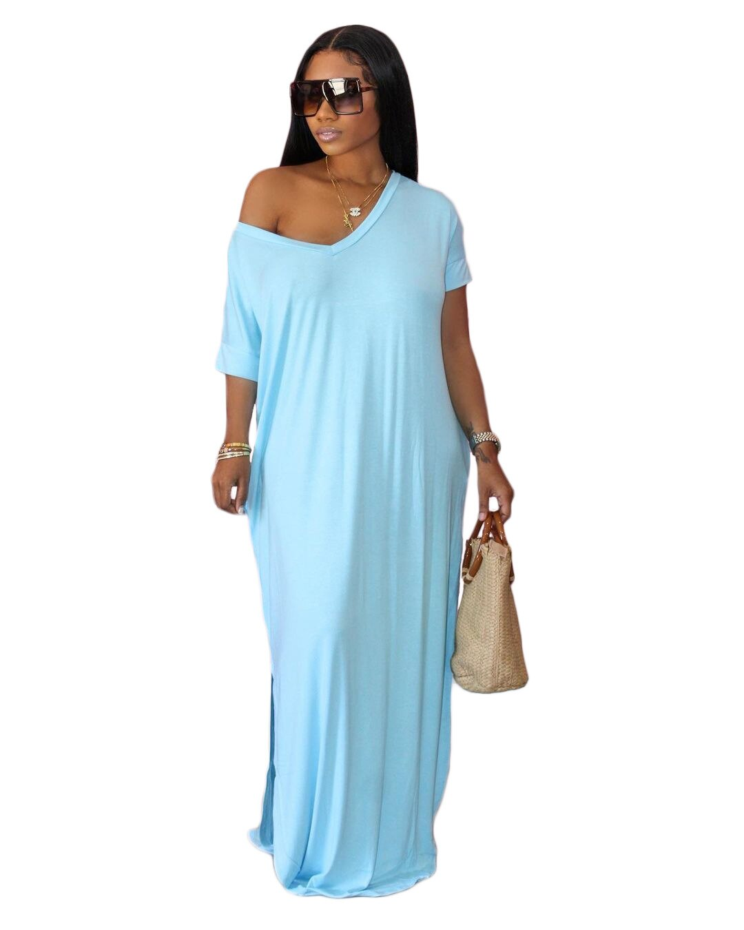 Women's Plus Size Dress Summer 2021 Solid  Pullover Long Skirt Loose and Casual Plus Size Women's Clothing Short Sleeve