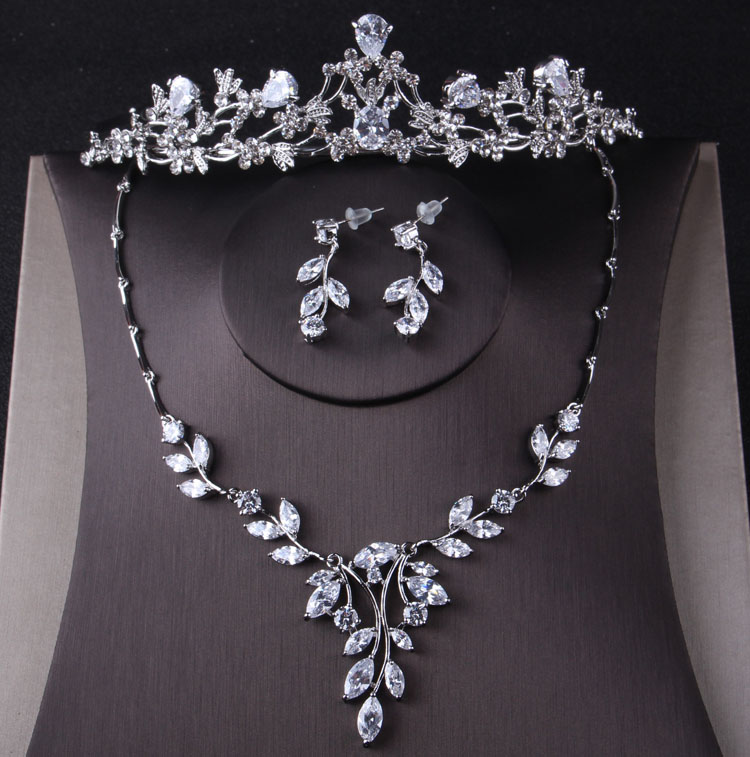 Collar de Tiara de LA corona de circonia cbica de lujo... juego...