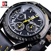 Sport czarny męski zegarek kwarcowy 3 Sub Dial BEN NEVIS moda zegarek z paskiem skórzanym data zegar zegarek męski Relojes Hombre