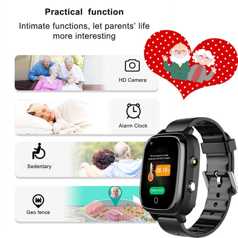 Elderly Smart Phone Watch Measuring Body Temperature Heart Rate Blood Pressure GPS+WiFi Positioning SOS Alarm Clock Smart Watch
