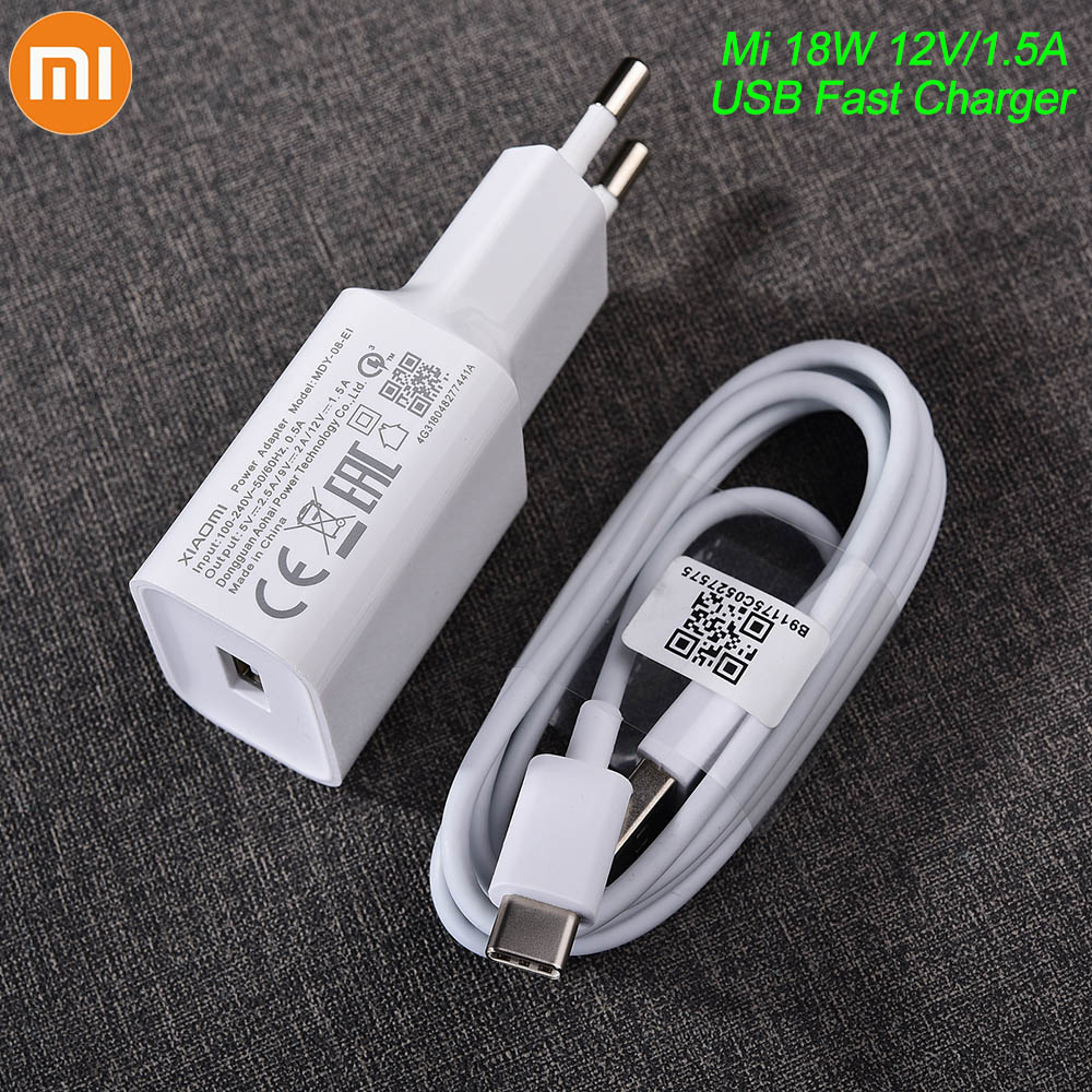 MDY-08-EI Original Xiaomi USB Charger 18W EU Adapter USB 3.0 TYPE C Data Cable For Mi 5 6 8 9 Redmi