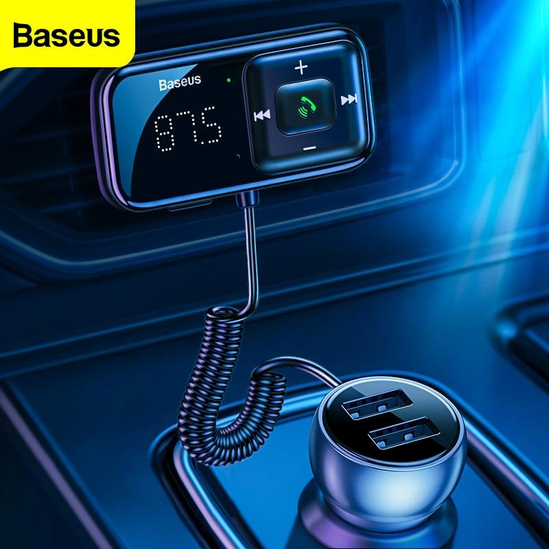 Baseus FM المغير الارسال بلوتوث 5.0 راديو FM 3.1A USB شاحن سيارة يدوي سيارة عدة لاسلكية Aux الصوت FM الارسال