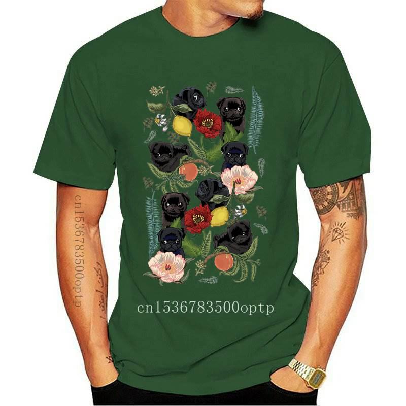 Camiseta con estampado de perros y gatos para mujer, remera con estampado de Pugs negros y botánicos coloridos, Tops informales, camisetas geniales para mujer
