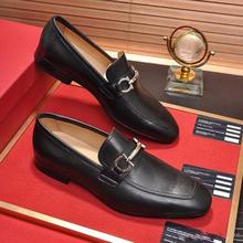 Men's Handmade PU Classic Loafers Fashion Trend All-match Business Matte Black High-quality Metal De