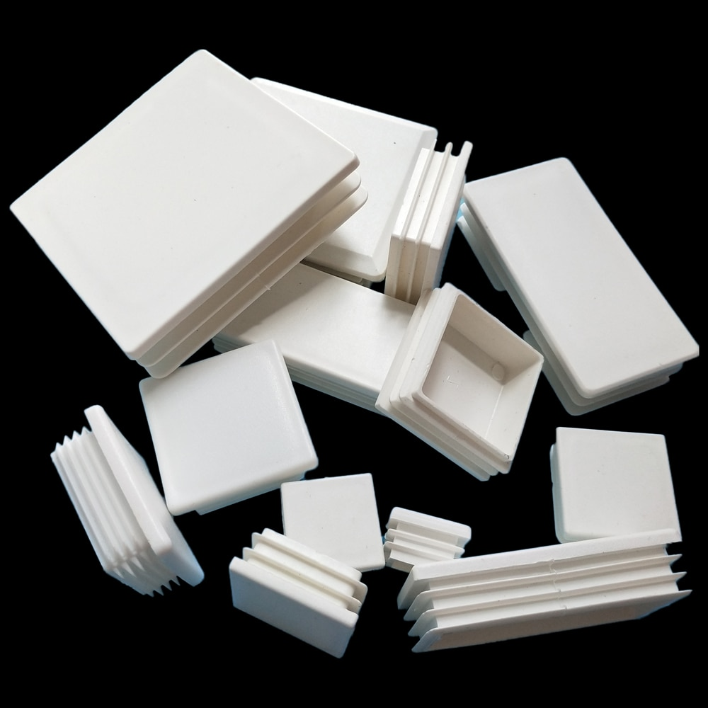2/10/20pcs White Plastic Rectangle Blanking End Caps Cap Tube Pipe Inserts Plug Bung Steel