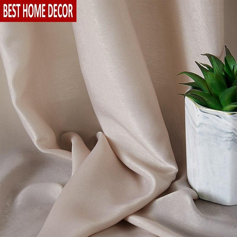 Super macio de seda tule cortinas para sala estar grande sentimento da mão decoração moderna sólida pura voile para tratamentos cozinha