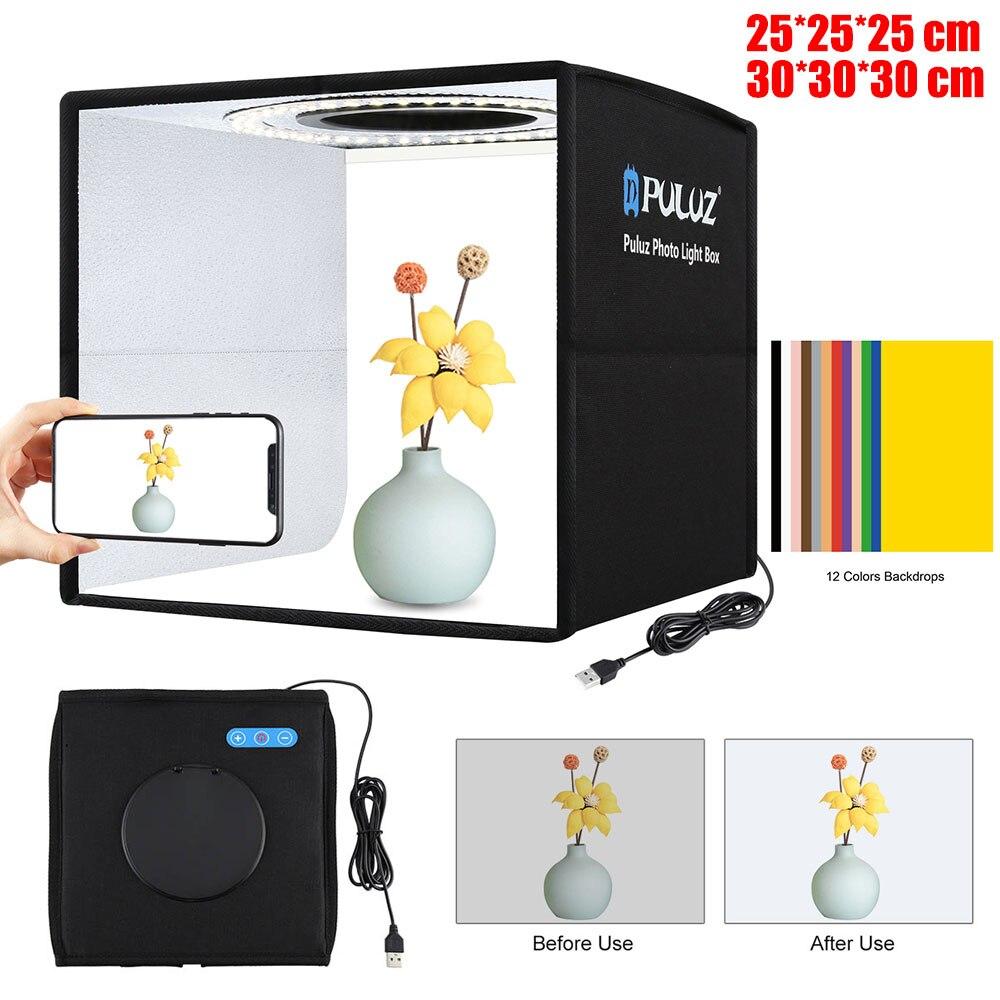 25/30 سنتيمتر صور إضاءة الاستوديو صندوق USB بالطاقة منضدية اطلاق النار صندوق الضوء مع 6/12 ألوان الخلفيات التصوير سوفت بوكس خيمة مجموعة