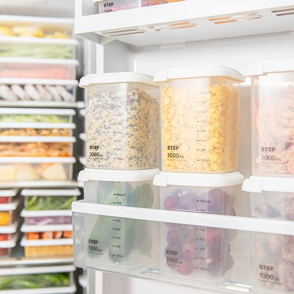 Transparent Food Cans Fresh-keeping Cans With Lid Kitchen Food Storage Bottle Spice Jar Tea Box Kitchen Storage Tank