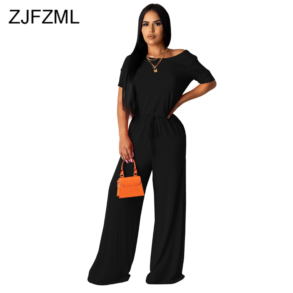 One Shoulder Solid Rompers Womens Jumpsuit Short Sleeve High Waist Wide Leg Bodysuit Summer Female Loose Full Length Playsuits