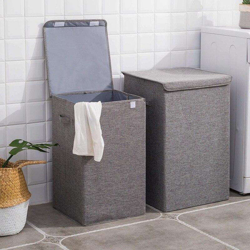 2021 أحدث سلة الغسيل القطن مع غطاء الحمام سلة الغسيل سلة التخزين المنزل للطي مقاوم للماء الغسيل