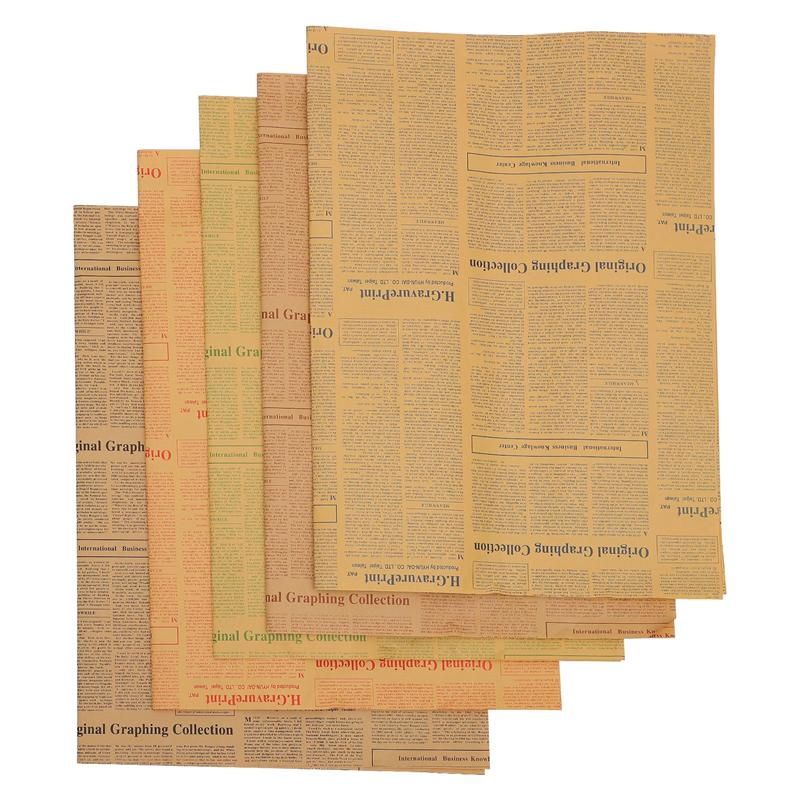 20Pcs Gift Wrapping Papers Vintage English Newspaper Kraft Paper Wrappers