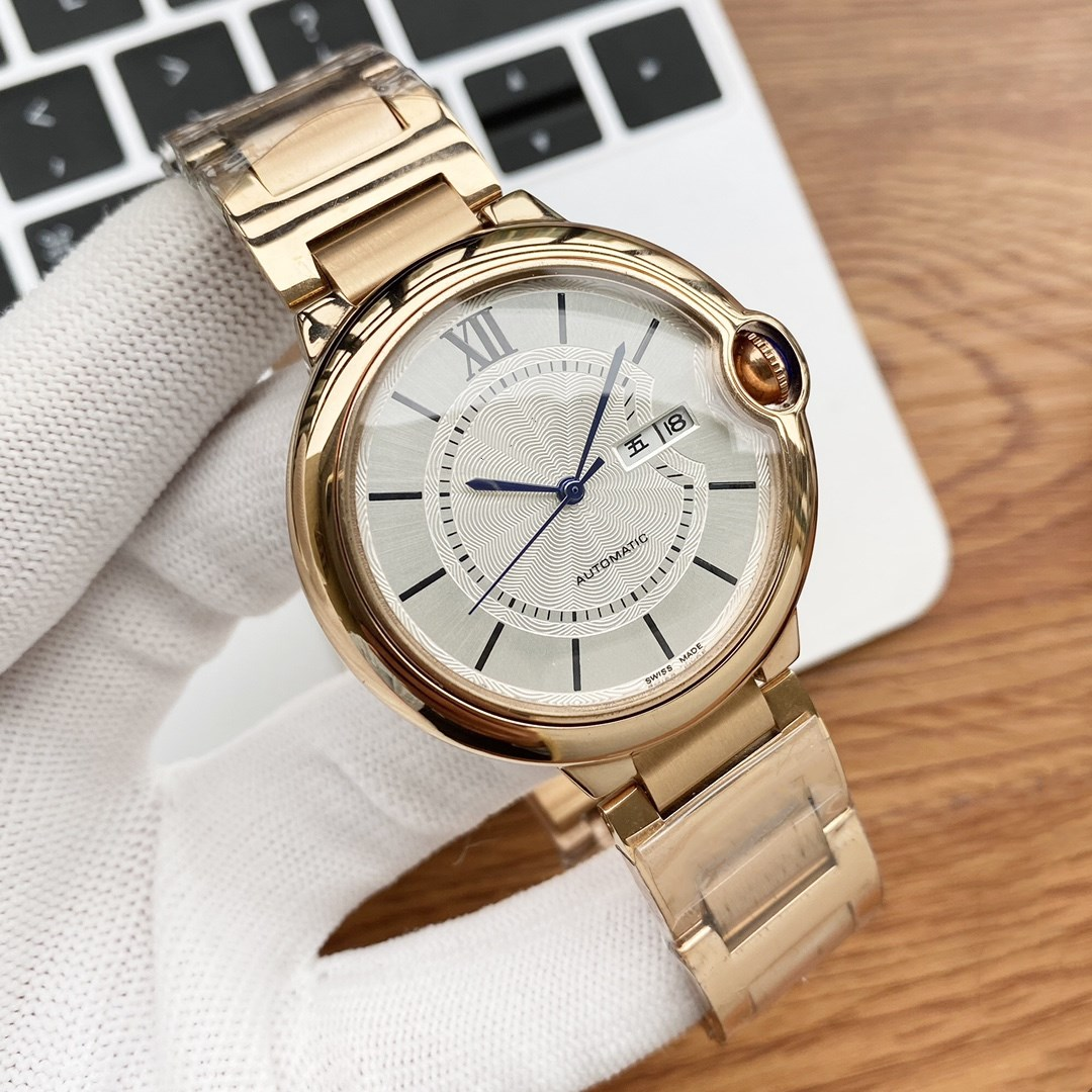 New Automatic Mechanical double calendar watches Men geometric wristwatches stainless steel Roman number clock 42mm Waterproof