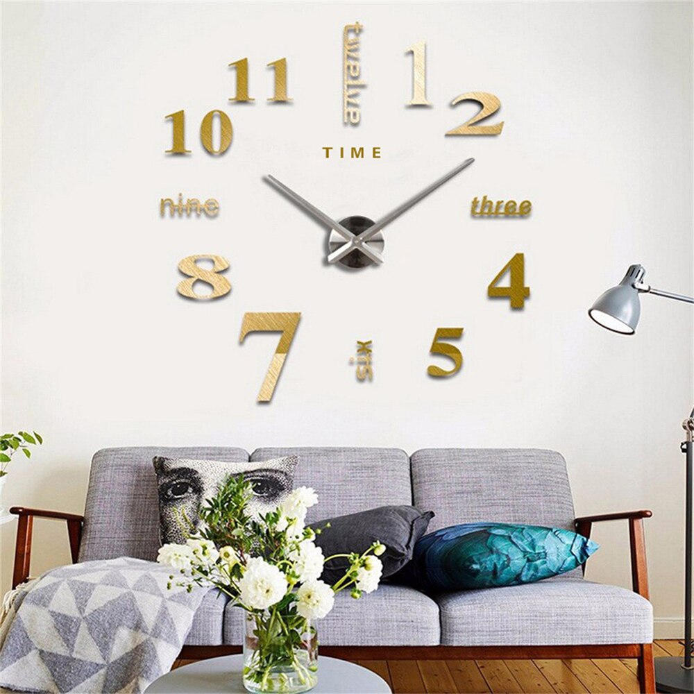 3D Wall Clock DIY Quartz Clock Mirror Wall Sticker Home Decor Creative Removable Art Decal Sticker Living Room Needle Display