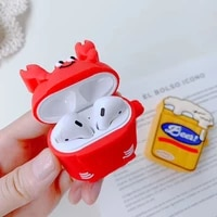 3d beer lobster cartoon wireless bluetooth earphone case for airpods 12 silicone soft charging box cover for airpods 2 coque