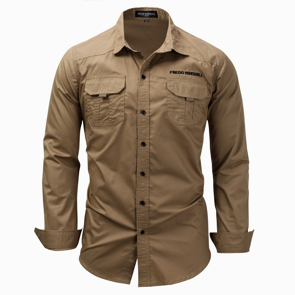 High quality 100% Cotton Military Shirt Men Long Sleeve Breathable Casual Shirt Man Solid Shirt With Embroidery