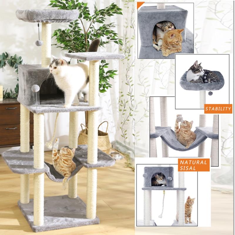 Fast Pet Cat Tree con poste de rascado cubierto de Sisal, Gato de felpa, casa de Condo, hamaca, perchas, plataforma, bola colgante para gato gatito