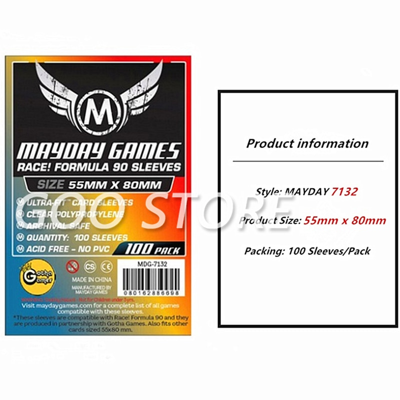 5 packs/lot MAYDAY Card Sleeve 7132 for 55*80mm cards protector clear pack case Board Games Sleeves