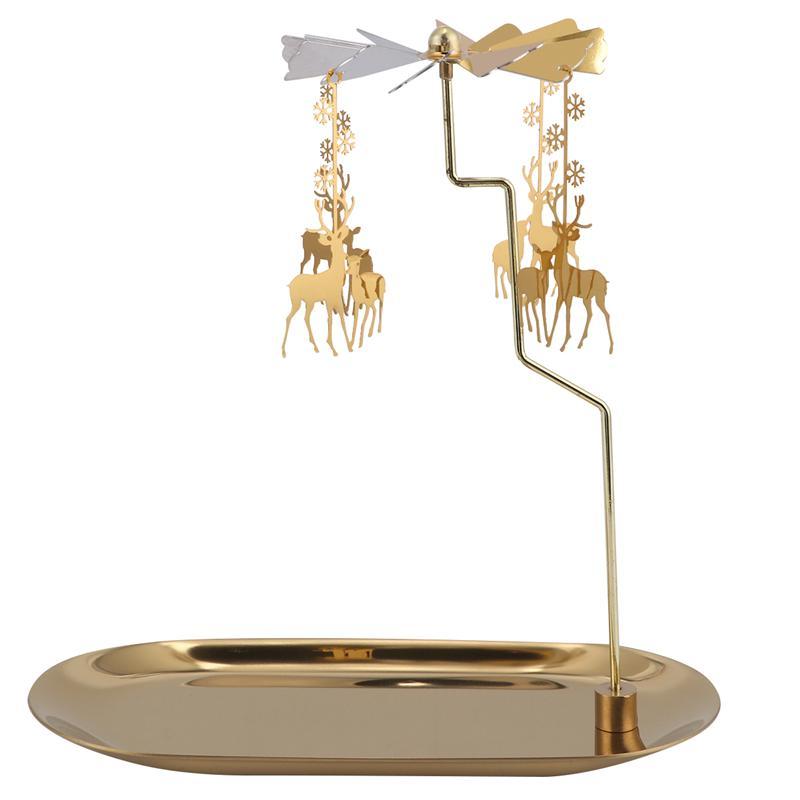 Candelabro giratorio con banda de alce para mesa de Navidad, adorno decorativo...