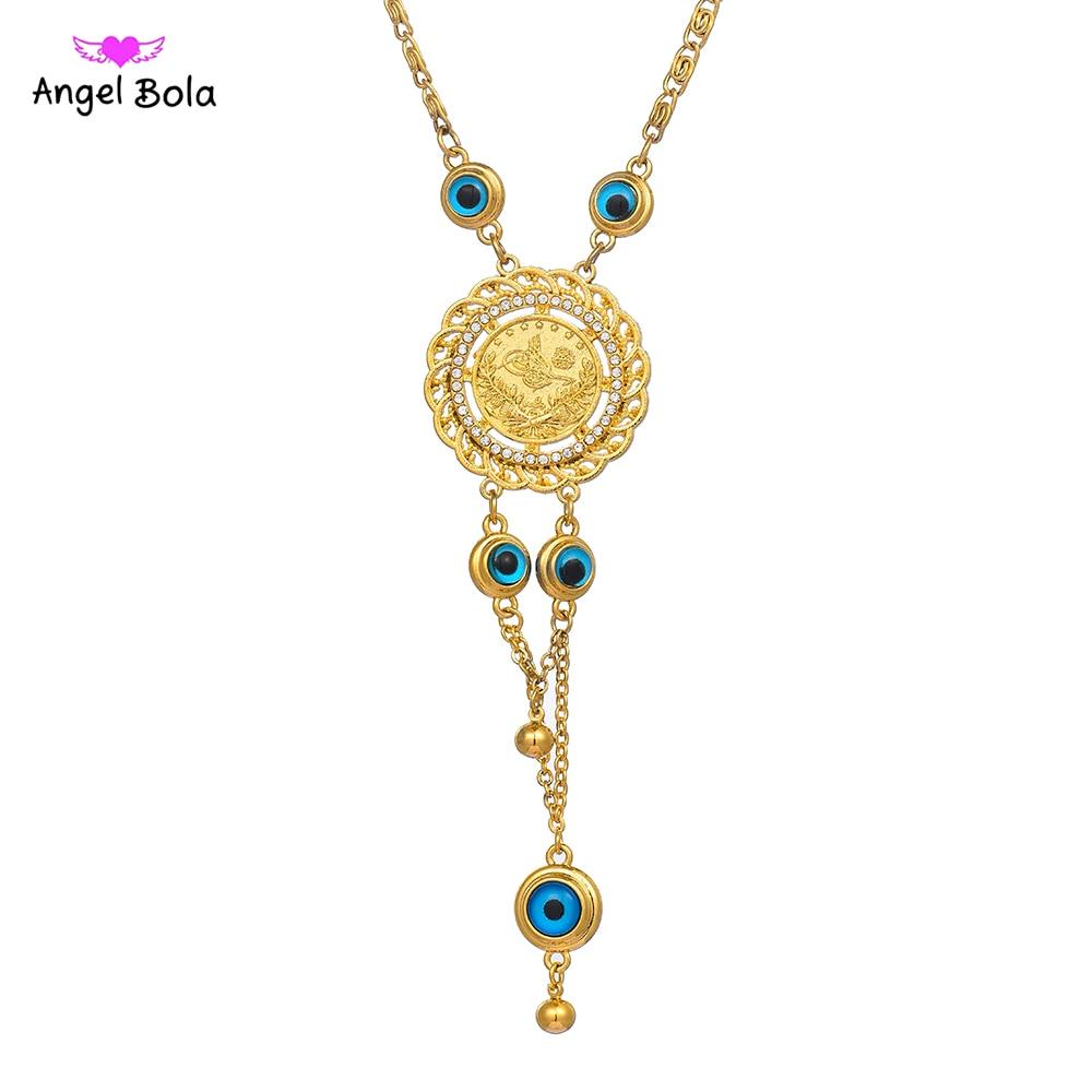 Atacado boa sorte muçulmano islam allah colar de corrente nova moda ouro turquia olho azul fatima palma necklac para jóias femininas