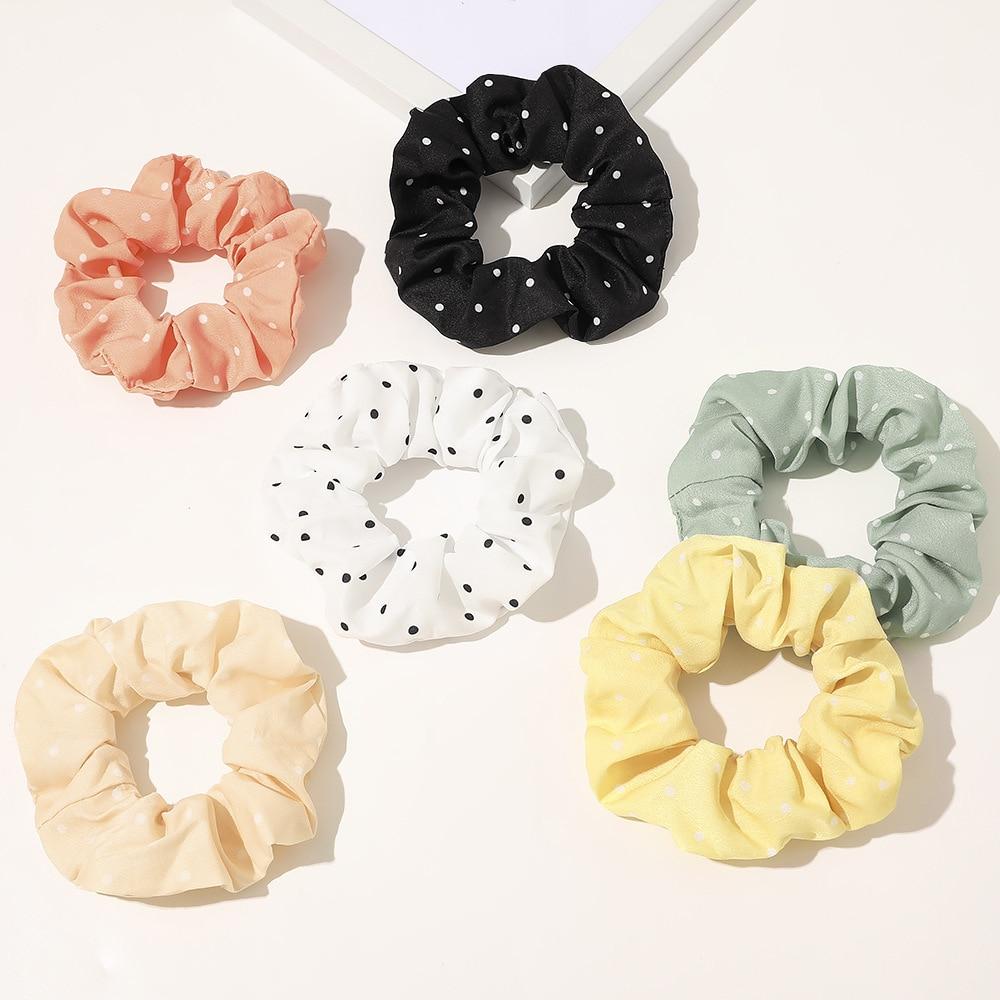 2020 New Korea Fashion Dots Hair Scrunchies For Women Ponytail 6pcs/pack Wholesale Schrunchies Set For Girls Cute Accessories