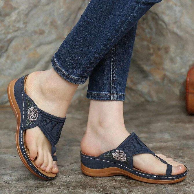 Zapatos bordados De flores para Mujer, sandalias De verano, sandalias con plataforma, Zapatos informales con punta abierta, Zapatos De Mujer
