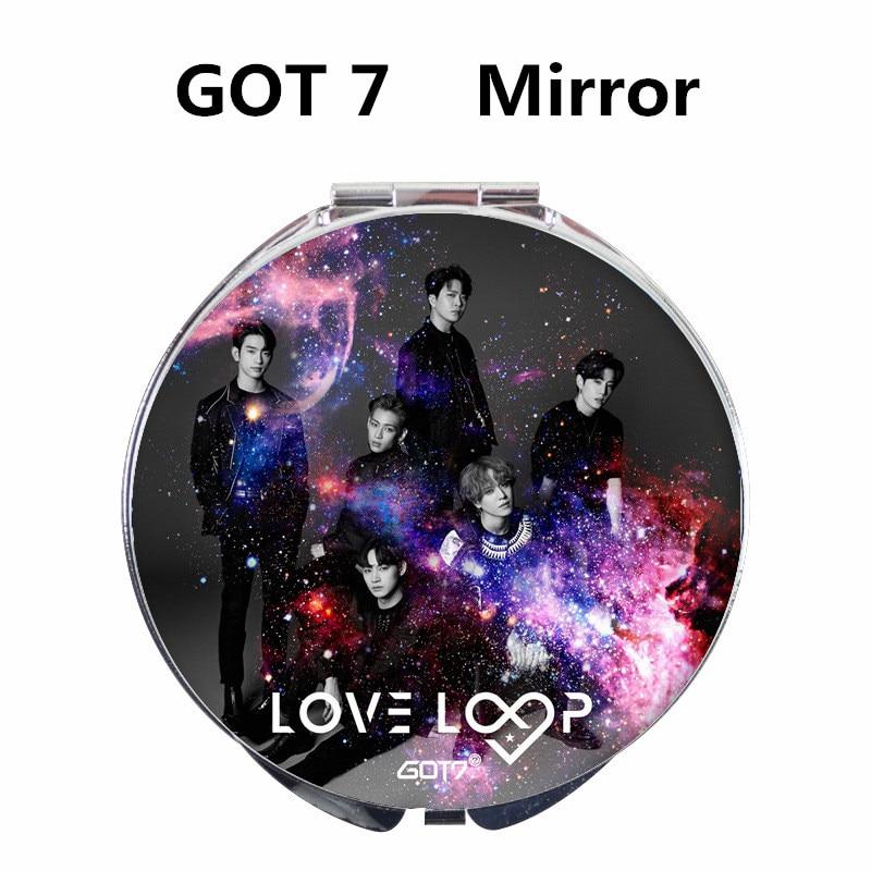 Kpop GOT 7 Mini álbum LOVE LOOP Jackson YuGyeom JB grupo de doble cara portátil pequeño espejo de maquillaje forma redonda plegable