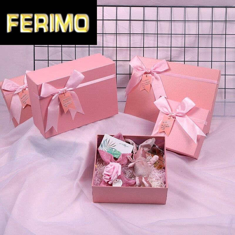 Guantes rosas tipo billetera para bufandas, caja de regalo de gran calidad con envoltorio de papel de caramelo, bolitas