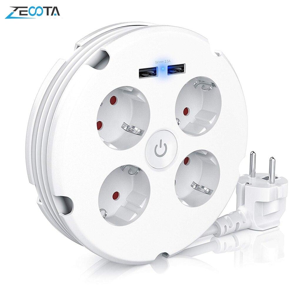 Tira de alimentación múltiple, tomas eléctricas de 4 vías, redondas, 2 USB, interruptor de cargador, salidas iluminado, montaje en pared, Cable Circular enrollable