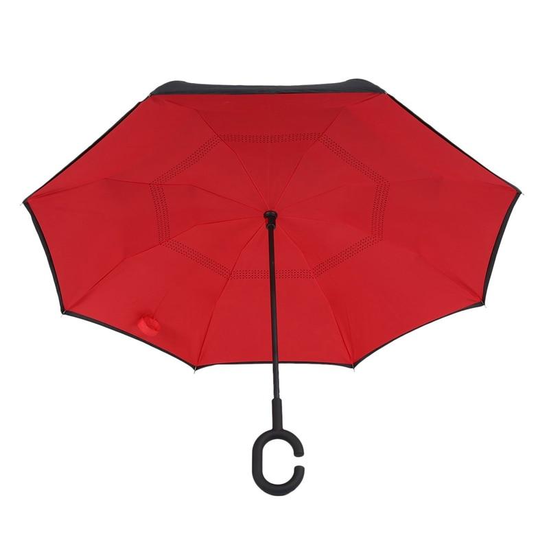 Paraguas reverso plegable de doble capa invertida a prueba de viento paraguas de coche de lluvia para mujeres