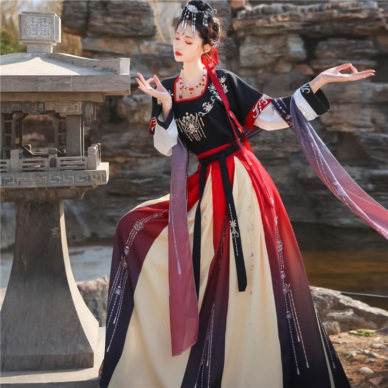 Dunhuang Ancient Chinese Hanfu Folk Dance Costume Women Traditional Clothing Oriental Princess Elegance Tang Dynasty Dance Wear